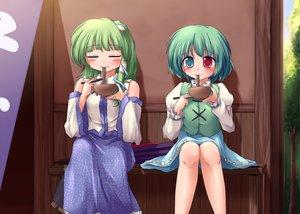 Rating: Safe Score: 39 Tags: 2girls bicolored_eyes food green_hair japanese_clothes kochiya_sanae lzh miko tatara_kogasa tears touhou User: gnarf1975