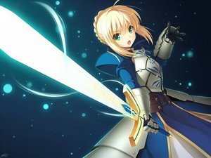 Rating: Safe Score: 274 Tags: armor artoria_pendragon_(all) blonde_hair braids cygnus dress fate_(series) fate/stay_night fate/zero gloves green_eyes saber short_hair signed sword weapon User: RyuZU