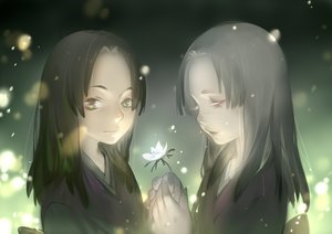 Rating: Safe Score: 62 Tags: 2girls black_hair flowers gray_hair green_eyes japanese_clothes long_hair luman mushishi User: Flandre93