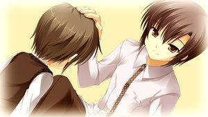 Rating: Safe Score: 15 Tags: all_male brown_eyes brown_hair cabbit game_cg kai_(midori_no_umi) male midori_no_umi short_hair yukie User: Katsumi