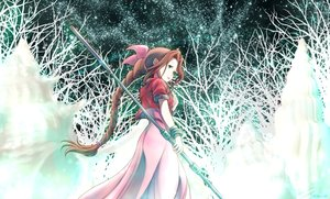 Rating: Safe Score: 95 Tags: aeris_gainsborough braids brown_hair dress final_fantasy final_fantasy_vii green_eyes long_hair ribbons staff weapon yakumoreo User: C4R10Z123GT