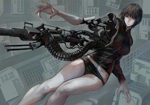 Rating: Safe Score: 33 Tags: black_hair gun jittsu original short_hair shorts techgirl weapon User: FormX