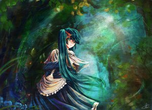 Rating: Safe Score: 56 Tags: aqua_eyes aqua_hair dress hatsune_miku liuli long_hair signed tree twintails vocaloid User: opai