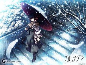 Rating: Safe Score: 58 Tags: cartagra feathers innocent_grey kouzuki_kazuna snow umbrella User: Oyashiro-sama