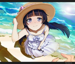Rating: Safe Score: 144 Tags: beach black_hair blue_eyes bow cross dress gokou_ruri hat long_hair ore_no_imouto_ga_konna_ni_kawaii_wake_ga_nai sonokazu water User: HawthorneKitty