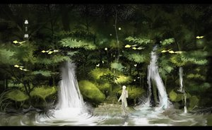 Rating: Safe Score: 108 Tags: all_male animal cigarette fish forest ginko_(mushishi) kurohal male mushishi scenic short_hair smoking stairs tree water waterfall white_hair User: FormX