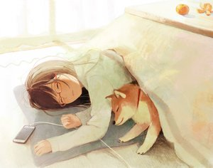 Rating: Safe Score: 77 Tags: animal brown_hair dog glasses hinata_(lipcream) kotatsu original phone sleeping User: mattiasc02