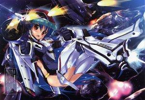 Rating: Safe Score: 12 Tags: blue_hair blush brown_eyes gun komatsu_eiji mechagirl space tagme weapon User: 秀悟