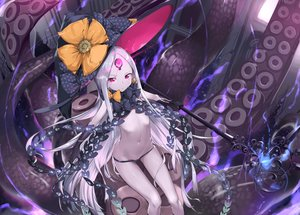 Rating: Safe Score: 35 Tags: abigail_williams_(fate/grand_order) bow fate/grand_order fate_(series) flat_chest gray_hair hat loli long_hair magic navel purple_eyes rubellent staff tentacles topless weapon witch_hat User: RyuZU