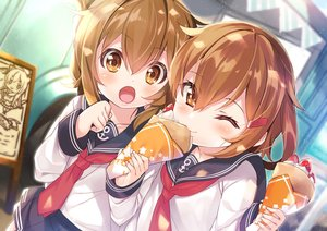 Rating: Safe Score: 77 Tags: 2girls anthropomorphism blush brown_eyes brown_hair close food fruit ikazuchi_(kancolle) inazuma_(kancolle) kantai_collection loli mayuzaki_yuu school_uniform short_hair skirt strawberry tie wink User: otaku_emmy