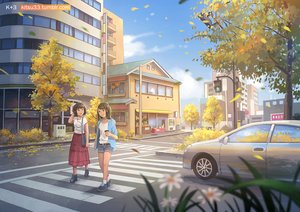 Rating: Safe Score: 22 Tags: 2girls black_eyes black_hair building car city clouds flowers kitsu+3 original reflection scenic short_hair shorts skirt sky tree watermark User: RyuZU