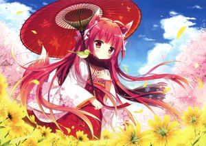 Rating: Safe Score: 69 Tags: animal animal_ears bird blush cherry_blossoms clouds flowers foxgirl japanese_clothes long_hair petals red_eyes red_hair scan scarf shiro_mochi_sakura sky tail umbrella User: RyuZU