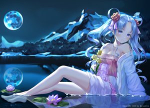 Rating: Safe Score: 136 Tags: aqua_hair barefoot breasts cleavage flowers hyonee long_hair moon night original reflection sky twintails water User: BattlequeenYume