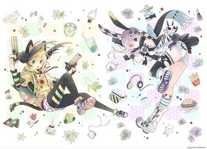 Rating: Safe Score: 56 Tags: 2girls animal animal_ears bandaid bicolored_eyes bow bunny_ears bunnygirl catgirl flowers food fruit garter gloves gray_hair green_eyes gun headphones hoodie ipod kneehighs long_hair original pantyhose rabbit rednian scarf shorts skirt tail thighhighs torn_clothes twintails watermark weapon User: otaku_emmy