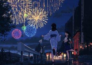 Rating: Safe Score: 46 Tags: festival fireworks japanese_clothes night original scenic signed summer tanenbo_(yakikoke) yukata User: FormX