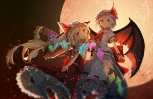 Rating: Safe Score: 78 Tags: 2girls blonde_hair dress flandre_scarlet hat loli long_hair moon red_eyes remilia_scarlet short_hair tagme_(artist) touhou vampire wings User: luckyluna