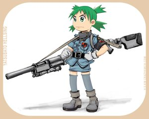 Rating: Safe Score: 18 Tags: cosplay gun hellsing koiwai_yotsuba parody weapon yotsubato! User: korokun