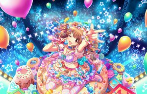 Rating: Safe Score: 13 Tags: annin_doufu bow breasts brown_eyes brown_hair cat_smile idolmaster idolmaster_cinderella_girls idolmaster_cinderella_girls_starlight_stage microphone moroboshi_kirari navel necklace short_hair skirt thighhighs wink wristwear User: RyuZU