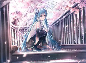 Rating: Safe Score: 124 Tags: aqua_eyes aqua_hair blush boots cherry_blossoms dangmyo flowers hatsune_miku long_hair petals skirt spring stairs tattoo thighhighs tie twintails umbrella vocaloid User: BattlequeenYume