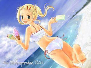 Rating: Safe Score: 18 Tags: beach bikini blonde_hair food green_eyes ice_cream miss_surfersparadise swimsuit User: Oyashiro-sama