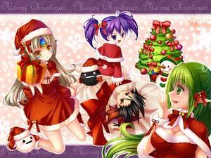 Rating: Safe Score: 58 Tags: aisha_(elsword) black_hair bow breasts brown_eyes christmas cleavage elsword eve_(elsword) grandia_(artist) green_eyes green_hair group hat long_hair pointed_ears purple_eyes purple_hair raven_(elsword) rena_(elsword) ribbons santa_costume santa_hat short_hair snow snowman tree twintails yellow_eyes User: opai