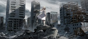Rating: Safe Score: 61 Tags: blonde_hair building city clouds dress long_hair original ruins sky summer_dress swav tattoo techgirl User: BattlequeenYume