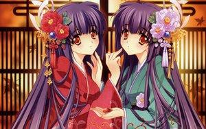 Rating: Safe Score: 54 Tags: carnelian japanese_clothes kao_no_nai_tsuki kuraki_mizuna kuraki_suzuna long_hair orange_eyes purple_hair twins User: Pilad