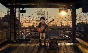 Rating: Safe Score: 87 Tags: catzz choker guitar instrument kneehighs original short_hair skirt sunset train User: FormX