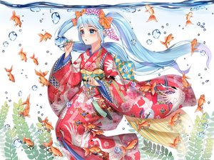 Rating: Safe Score: 35 Tags: animal aqua_eyes aqua_hair blush bubbles fish hatsune_miku japanese_clothes kimono long_hair twintails underwater vocaloid water xlavhzhr04 User: RyuZU