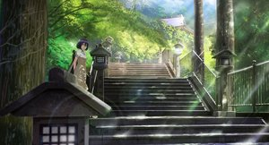 Rating: Safe Score: 34 Tags: black_hair brown_eyes dress nasu original scenic shade short_hair stairs tree User: RyuZU