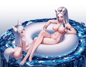 Rating: Questionable Score: 153 Tags: 2girls animal_ears ass barefoot blade_&_soul blue_eyes blush breasts drink gradient letdie1414 long_hair navel nipples nude pink_eyes short_hair signed tagme_(character) tail water wet white white_hair User: BattlequeenYume