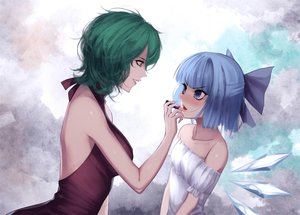 Rating: Safe Score: 39 Tags: 2girls blue_eyes blue_hair blush bow breasts cirno fairy green_hair jpeg_artifacts kazami_yuuka red-d short_hair touhou wings User: RyuZU