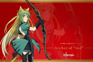 Rating: Safe Score: 38 Tags: animal_ears atalanta_(fate) bow_(weapon) fate/apocrypha fate_(series) gloves green_eyes jpeg_artifacts logo long_hair skirt tagme_(artist) tail thighhighs weapon zoom_layer User: RyuZU