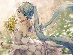 Rating: Safe Score: 52 Tags: aqua_eyes aqua_hair dress flowers haruta_(dndp3458) hatsune_miku long_hair necklace twintails vocaloid wedding_attire User: FormX