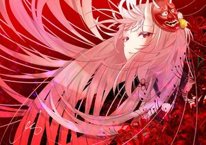 Rating: Safe Score: 44 Tags: close demon flowers gradient gray_hair hololive horns long_hair mask nakiri_ayame polychromatic red red_eyes signed urotare User: otaku_emmy