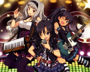 Rating: Safe Score: 106 Tags: cropped fang ganaha_hibiki guitar idolmaster inou_shin instrument kikuchi_makoto microphone shijou_takane skirt thighhighs wink User: Wiresetc