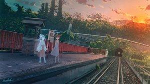 Rating: Safe Score: 53 Tags: 2girls banishment japanese_clothes original scenic signed sunset train User: Dreista