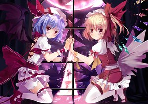 Rating: Safe Score: 82 Tags: 2girls blonde_hair blue_hair blush dress flandre_scarlet hat moon red_eyes remilia_scarlet ribbons short_hair thighhighs touhou vampire wings xephonia User: Tensa