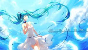 Rating: Safe Score: 43 Tags: aqua_hair dress hatsune_miku long_hair luo_qingyu sky twintails vocaloid User: SciFi