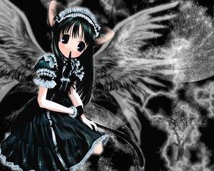 Rating: Safe Score: 33 Tags: animal_ears azumanga_daioh black_eyes black_hair catgirl cross dark headband kasuga_ayumu lolita_fashion moon tail tree wings User: Oyashiro-sama