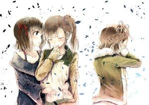 Rating: Safe Score: 84 Tags: amami_haruka brown_hair crying futami_ami futami_mami hug idolmaster petals ponytail ribbons tears twins yae_(mono110) User: FormX