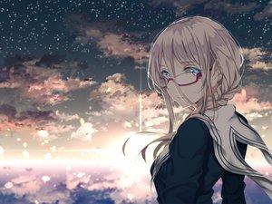 Rating: Safe Score: 122 Tags: aqua_eyes braids clouds glasses original saitou_(lynx-shrike) school_uniform stars white_hair User: luckyluna