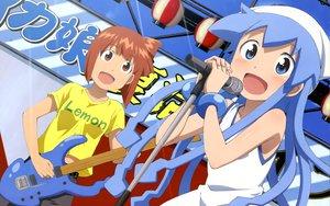 Rating: Safe Score: 38 Tags: aizawa_eiko guitar ikamusume instrument loli microphone nyantype scan shinryaku!_ikamusume User: meccrain
