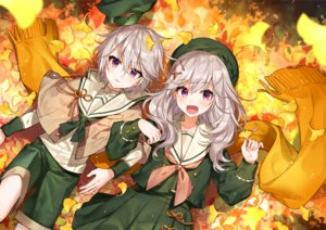 Rating: Safe Score: 91 Tags: autumn blush cape gray_hair hat leaves long_hair male melonbooks original purple_eyes scarf seifuku shirako_miso short_hair shorts skirt User: RyuZU