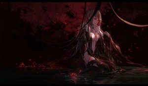 Rating: Safe Score: 158 Tags: breasts brown_hair cleavage consort_yu dark dress fate/grand_order fate_(series) fire flowers long_hair red_eyes reflection signed swd3e2 water User: BattlequeenYume