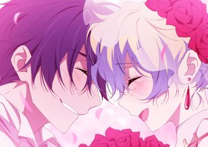 Rating: Safe Score: 39 Tags: black_hair blush close flowers gray_hair male nia_teppelin ntend short_hair simon tengen_toppa_gurren_lagann wedding User: RyuZU