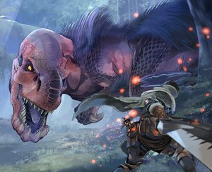 Rating: Safe Score: 53 Tags: anjanath black_hair boots cape forest fuse_ryuuta gloves grass hunter_(armor) monster_hunter monster_hunter:_world night rope short_hair sword tree weapon User: otaku_emmy