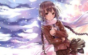 Rating: Safe Score: 293 Tags: brown_eyes brown_hair clouds kazuharu_kina long_hair original scarf school_uniform sky twintails User: meccrain