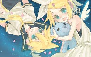 Rating: Safe Score: 18 Tags: aqua_eyes blonde_hair kagamine_len kagamine_rin male petals short_hair teddy_bear vocaloid User: haru3173