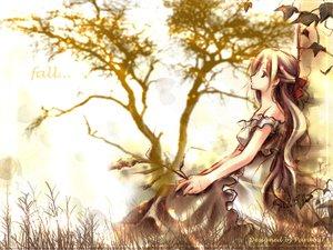 Rating: Safe Score: 22 Tags: autumn brown_hair dress ribbons summer_dress tree User: Oyashiro-sama